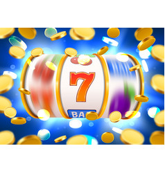 Golden slot machine with flying golden coins wins vector