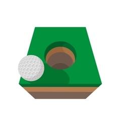 golf ball on edge hole cartoon icon vector image