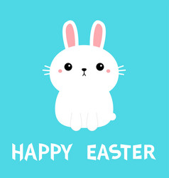 happy easter white bunny rabbit icon cute funny vector image