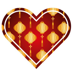 heart love lantern decoration pattern vector image