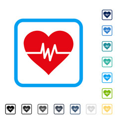 heart pulse framed icon vector image