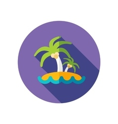 Island with palm trees flat icon long shadow vector
