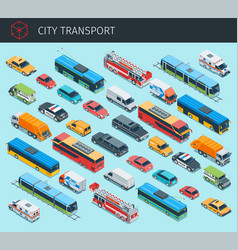Isometric city transport vector
