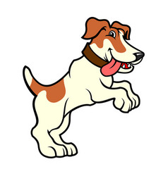 Jack russell dog character standing on hind legs vector