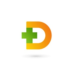 Letter D cross plus logo icon design template vector