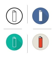 Lighter flat design linear and color icons set vector
