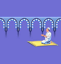 Male moslem sit and pray at decorative mosque gate vector