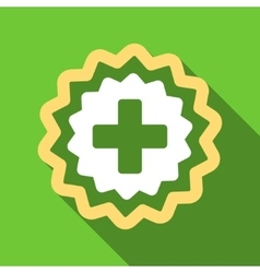 Medical Cross Stamp Flat Long Shadow Square Icon vector
