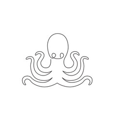 one continuous line drawing mysterious octopus vector image