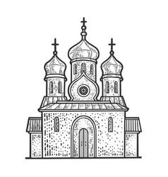 Orthodox christian church sketch vector