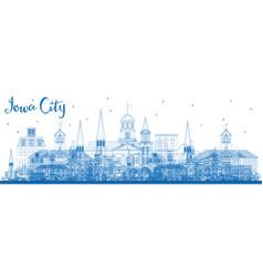 Outline iowa city skyline with blue buildings vector
