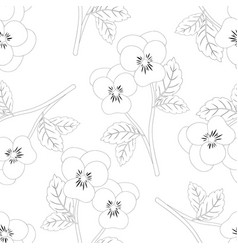 pansy flower on white background outline vector image