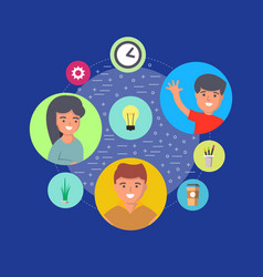 People teamwork concept with round avatar icons vector