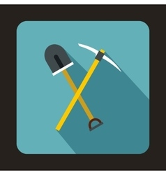 Pick tool and shovel icon flat style vector image