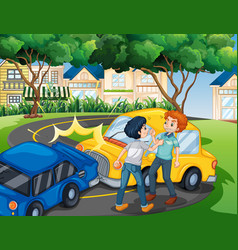scene with people fighting over car accident vector image
