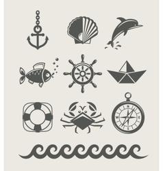 Sea and marine symbol set vector image vector image