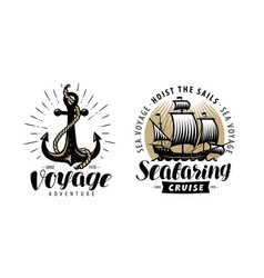Sea cruise seafaring logo or label nautical vector
