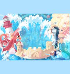 Sea maritime collage vector