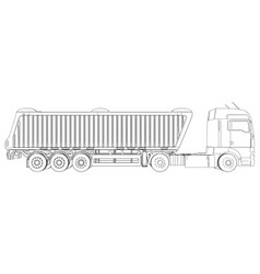 Semi-trailer dump truck sketch eurotrucks vehicle vector