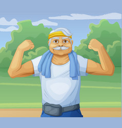 senior man doing sport morning exercises in park vector image