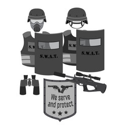 Serve and protect swat and police flat style vector
