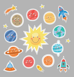 set cartoon planets with funny faces stickers vector image