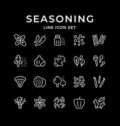 set line icons seasoning vector image