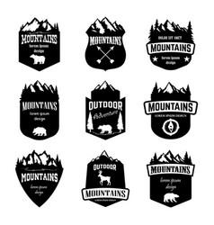 set mountains outdoor camping emblems design vector image