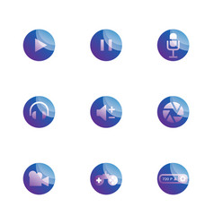 set multimedia function icons vector image