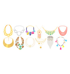 Set necklace beads jewelry gold metal vector