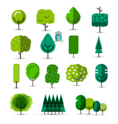 set of abstract green trees tree icons vector image