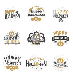 set of happy halloween badges or labels design vector image
