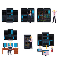 Set of server room images with data center and vector