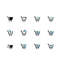 Shopping cart duotone icons on white background vector