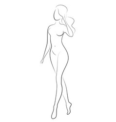 silhouette a sweet graceful lady the girl has vector image