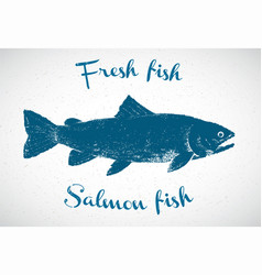 silhouette salmon in graphic style the vector image