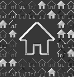 Silver metallic home icon design set vector image
