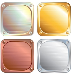 Square Metallic Plates Signs vector image