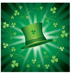St patricks day - green shiny background with hat vector