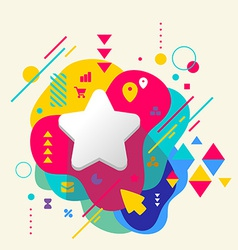 Star on abstract colorful spotted background with vector