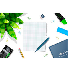 Studying table mockup top view vector
