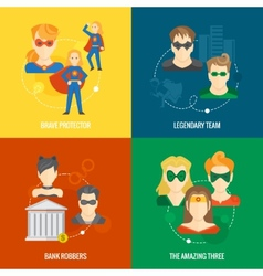 Superhero icon flat composition vector image vector image