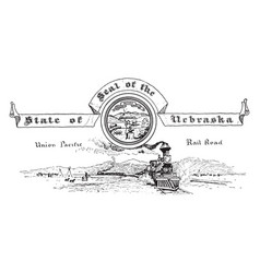 The united states seal of nebraska vintage vector