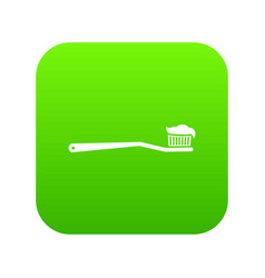 toothbrush icon digital green vector image