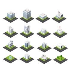 Urban isometric icons vector