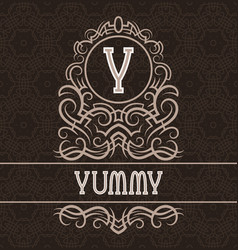 Vintage label design template for yummy product vector