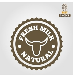 Vintage label logo emblem template of milk on vector image