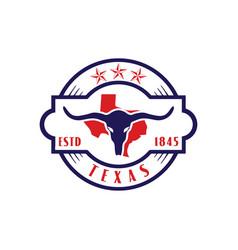 Vintage retro long horn texas star map logo design vector