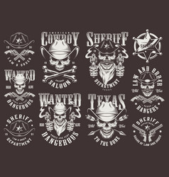 Vintage wild west logotypes set vector