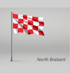 Waving flag north brabant - province of vector